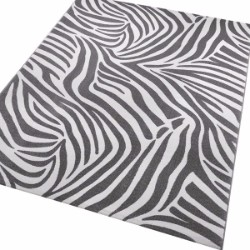 African Safari Zebra 0729-03 Grey Rug