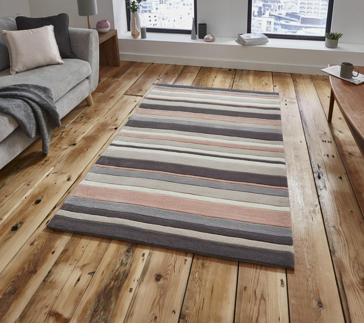 Hong Kong - Stripey 2022 Beige Peach Rug