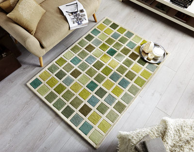 Illusion Campari Green Cream Rug