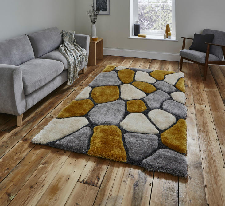 Noble House Pebbles 5858 Grey Yellow Rug