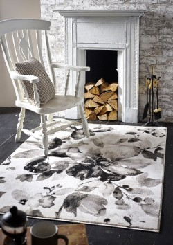 Watercolour Floral Grey Rug