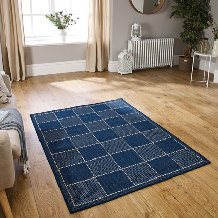 Checked Flatweave Blue Rug