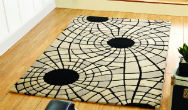 Botanical Radiate Black and Beige Rug
