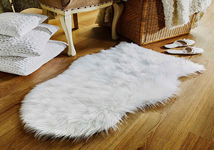 Faux Sheepskin White Rug