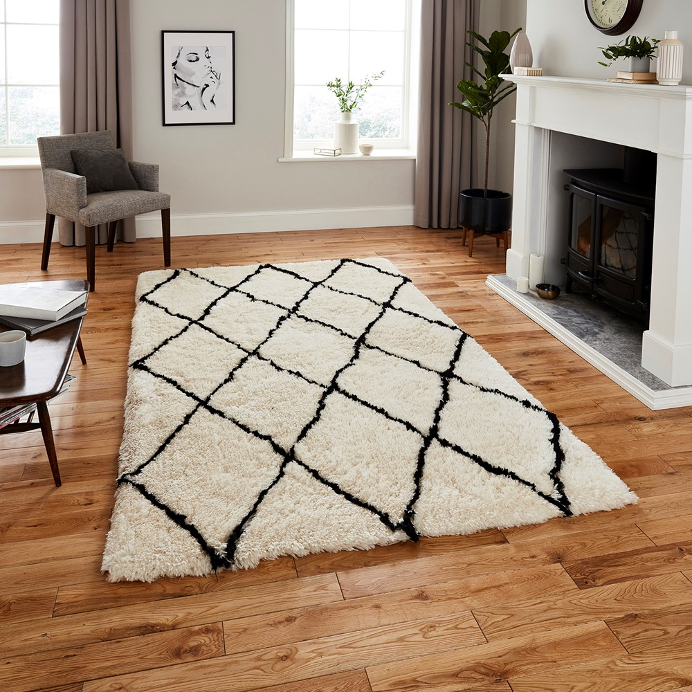 Morocco Think 2491 Ivory Black Rug