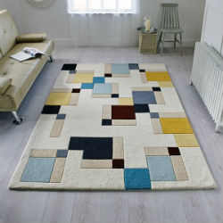 Illusion Abstract Blocks Blue Ochre Rug