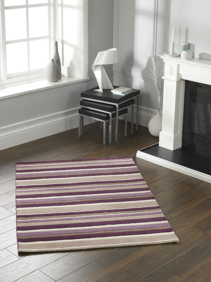Carved Stripe Grape Rug