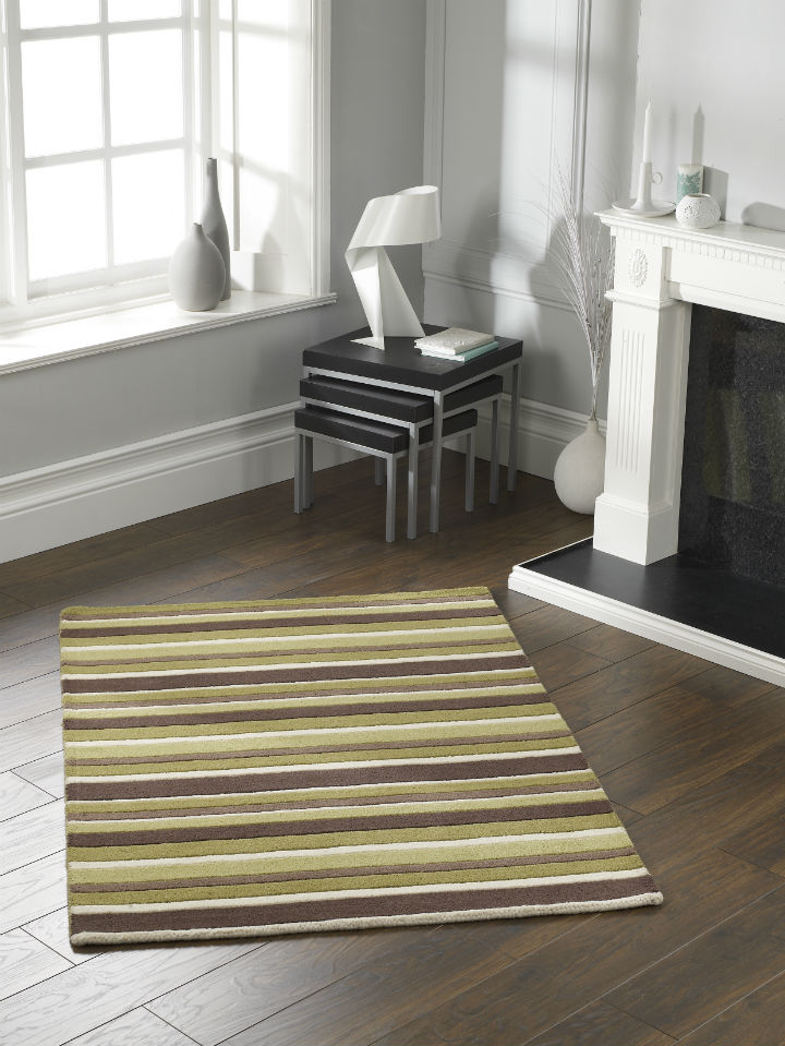Carved Stripe Green Rug