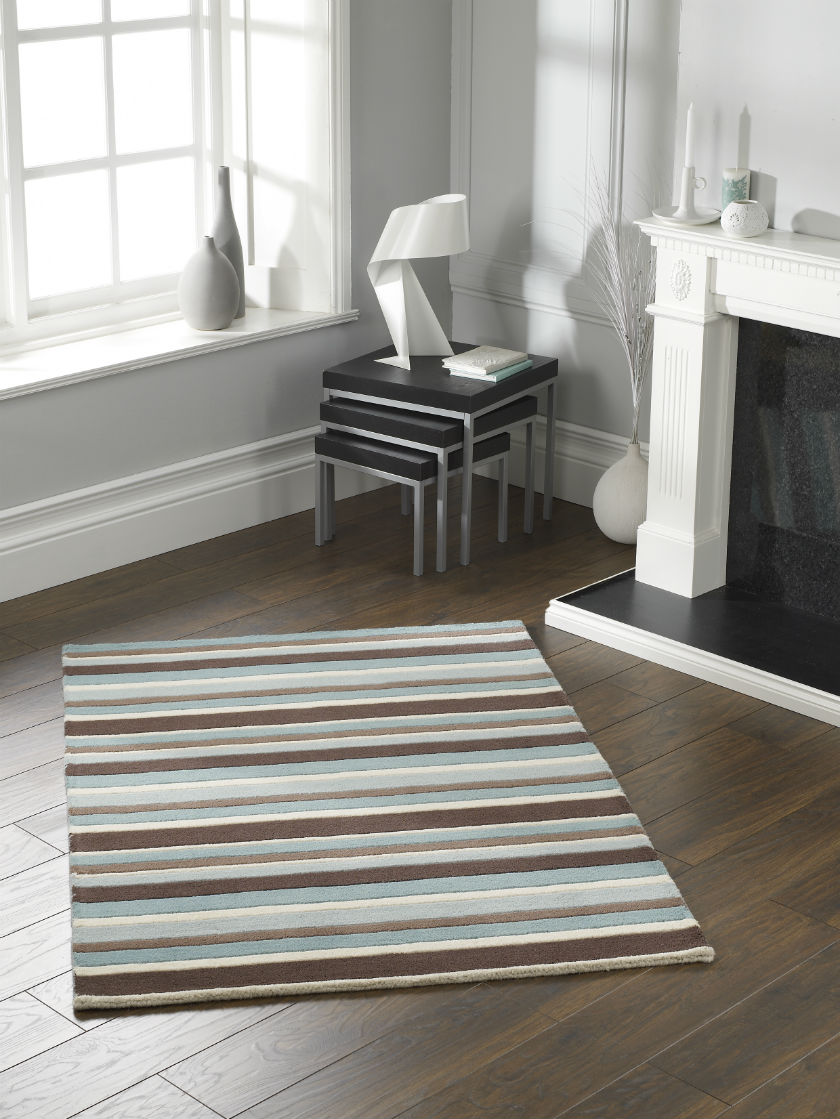 Carved Stripe Sea Spray Rug
