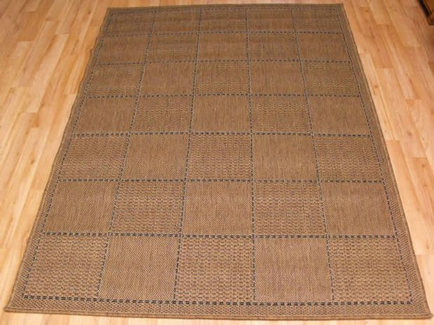 Checked Flatweave Natural Rug