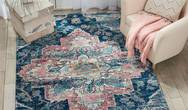 Fusion Nourison FSS13 Navy Pink Rug