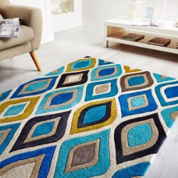 Carnival Flame Teal Ochre Rug