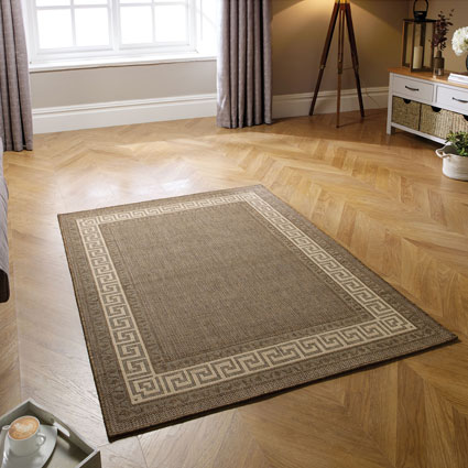 Greek Key Flatweave Brown Rug