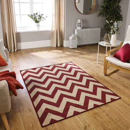 Moda Flatweave Chevron Red Rug