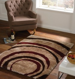Velvet Droplet Red Brown Rug