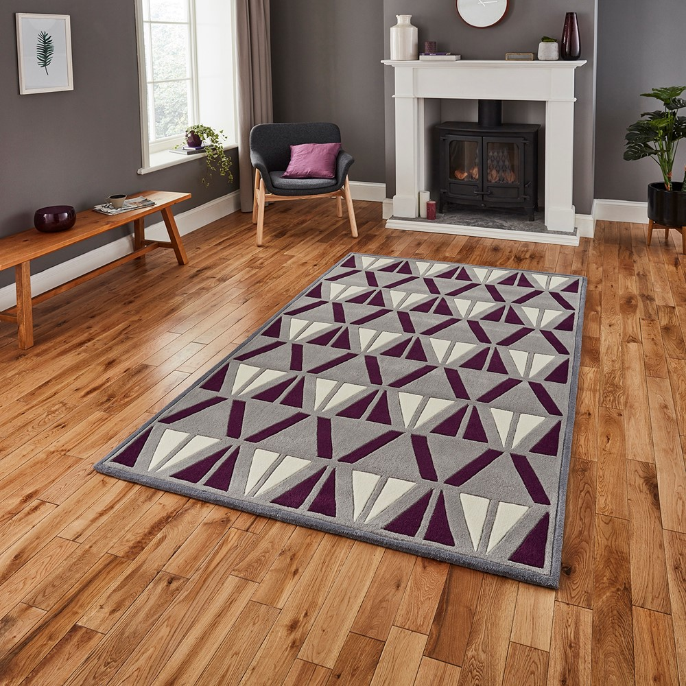 Purple And Brown Room Part - 17: HK 1374 Grey Purple Rug