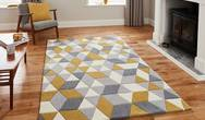 HK3653 Grey Yellow Rug