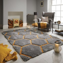 Verge Honeycomb Grey Ochre Rug