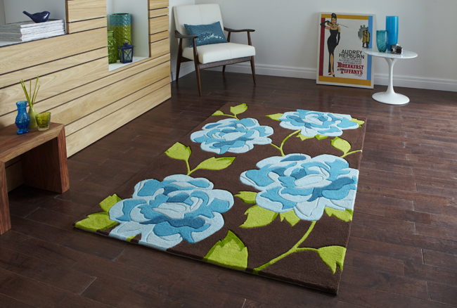 Hong Kong Floral HK-793 Brown-Blue Rug