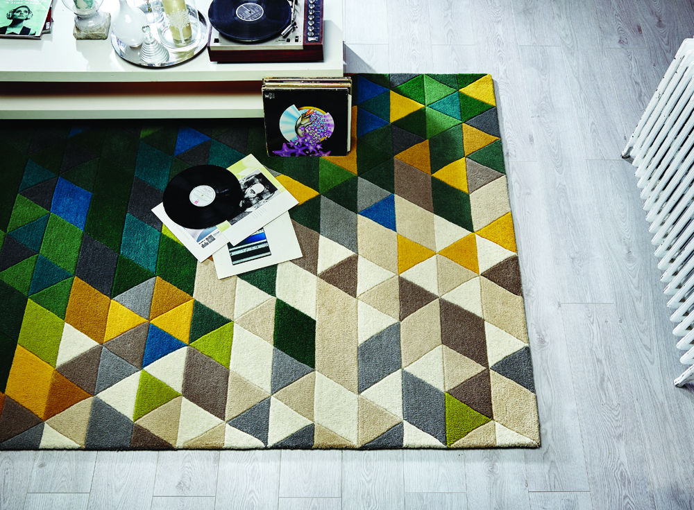 Illusion Prism Green Multi Rug