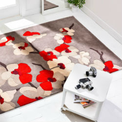 Blossom Taupe Red Rug