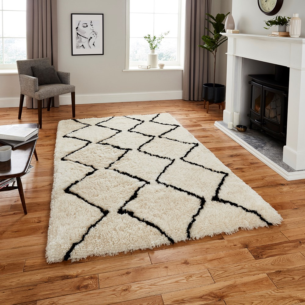 Morocco Think 3742 Ivory Black Rug