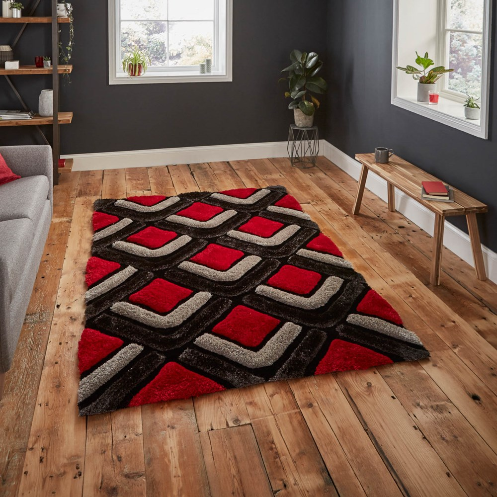Shaggy - Noble House 8199 Black Red Rug