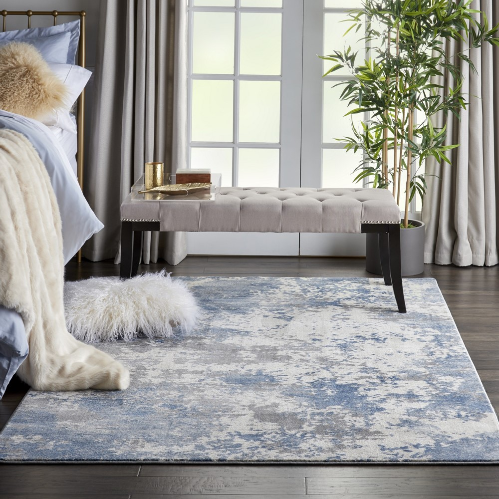 Rustic Textures RUS08 Grey Blue Rug