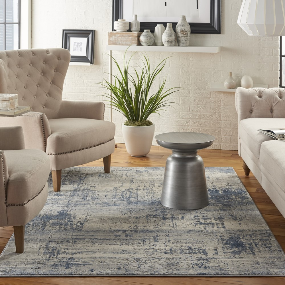 Rustic Textures RUS10 Ivory Blue Rug