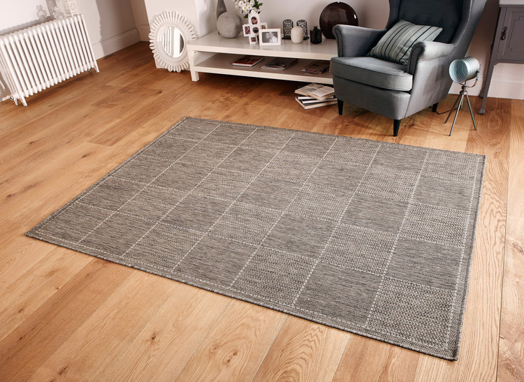 Checked Flatweave Grey Rug