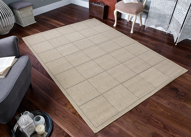 Checked Flatweave Beige Rug
