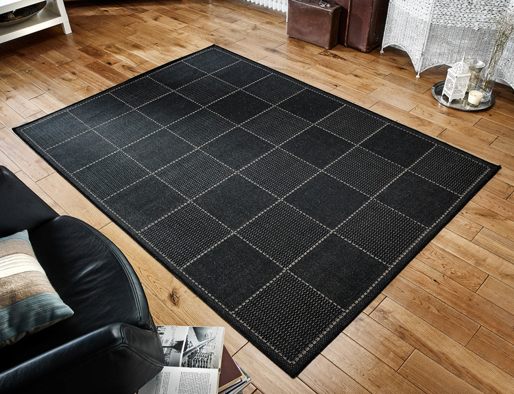 Checked Flatweave Black Rug