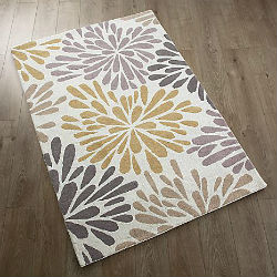 Cabone Flower Burst Ochre Grey Rug