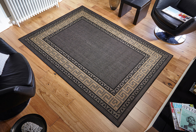 Greek Key Flatweave Black Rug