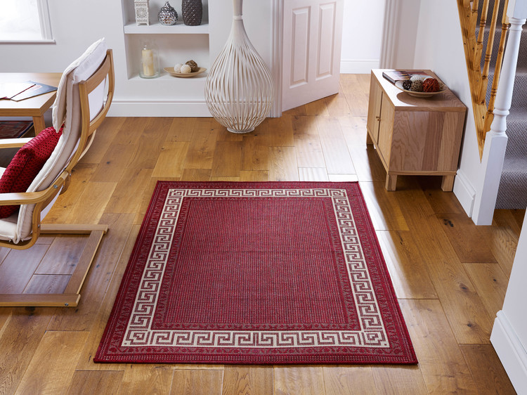Greek Key Flatweave Red Rug