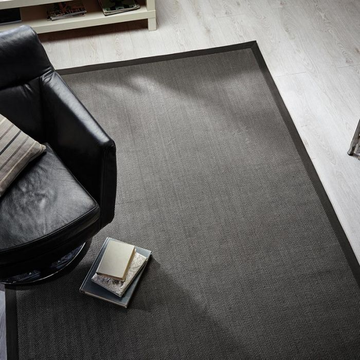 Herringbone Grey Grey Rug