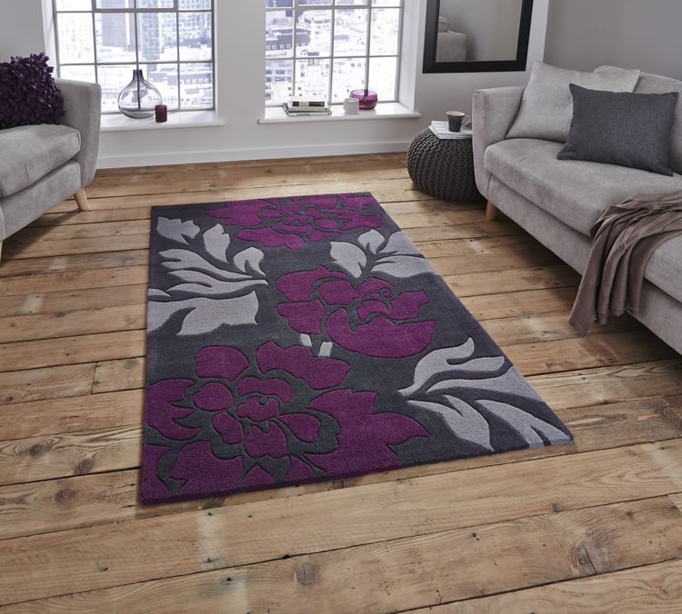 Hong Kong Floral 33L Grey Purple Rug