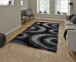 Shaggy - Noble House 1401 grey black Rug