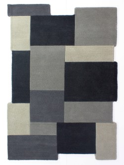 Abstract Collage Grey Rug