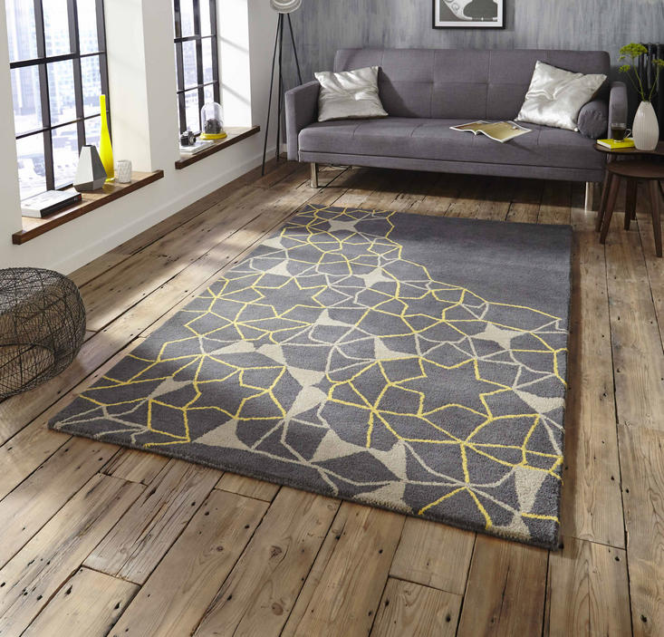 Spectrum SP37 Grey Yellow Rug