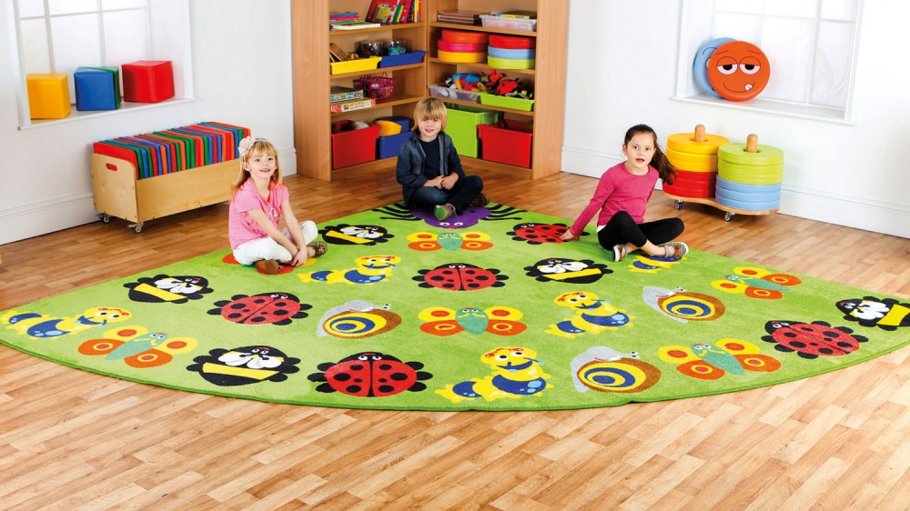 Placement Rugs Back to Nature™ Large Corner Bugs Rug