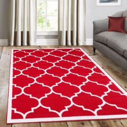 Trendy Red with border Rug