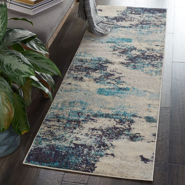 Celestial CES02 Ivory Teal Blue Rugs