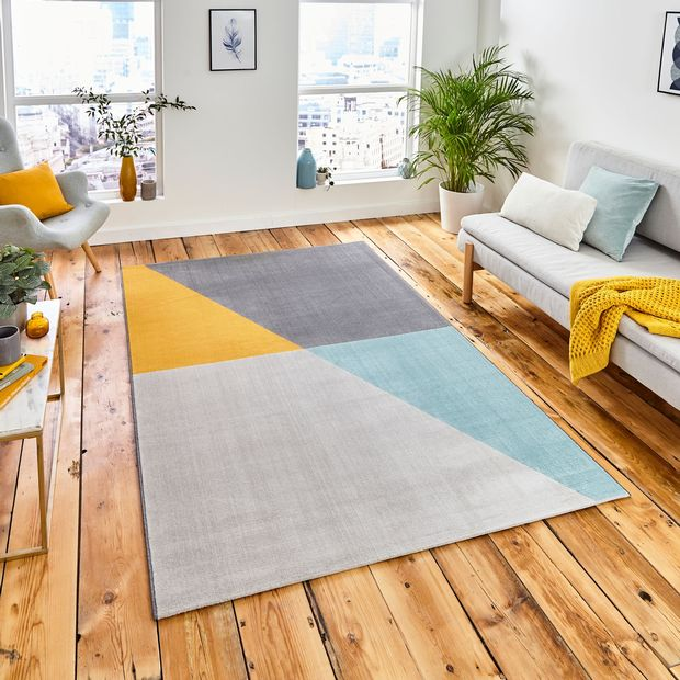 Vancouver 18487 Grey Blue Yellow Rugs Buy 18487 Grey Blue Yellow Rugs Online From Rugs Direct