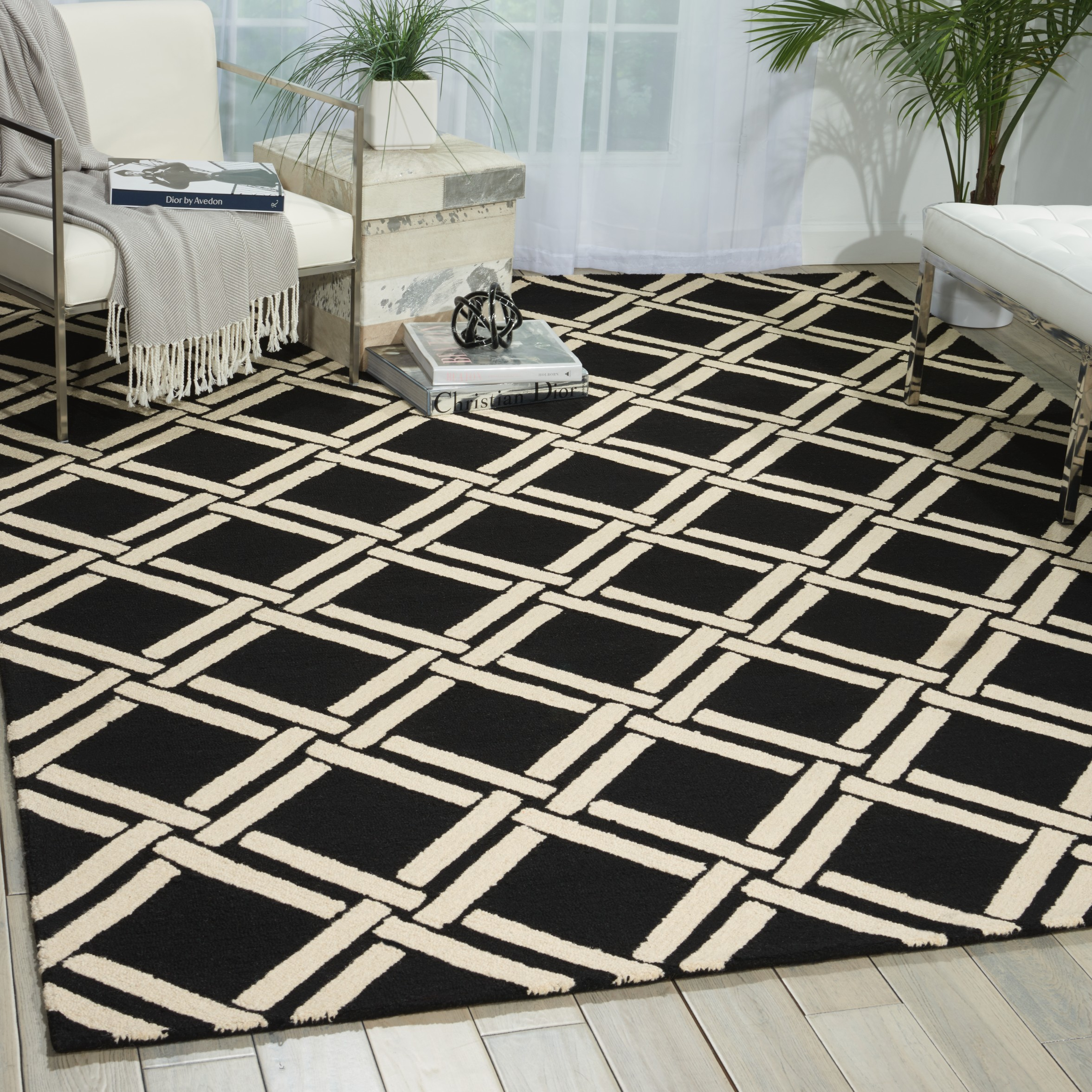 Linear Lin04 Black White Rugs