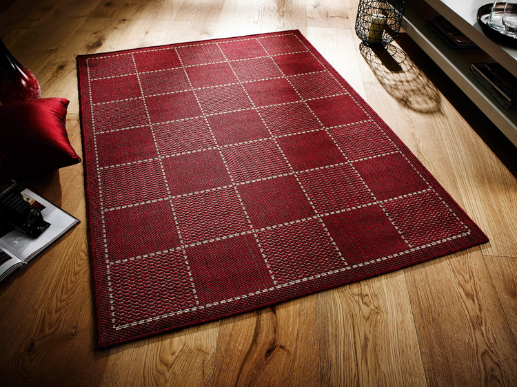 Checked Flatweave > Red Rug