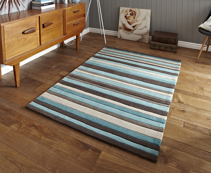Hong Kong - Stripey 2022 Brown-Blue Rugs - Buy 2022 Brown-Blue Rugs Online from Rugs Direct